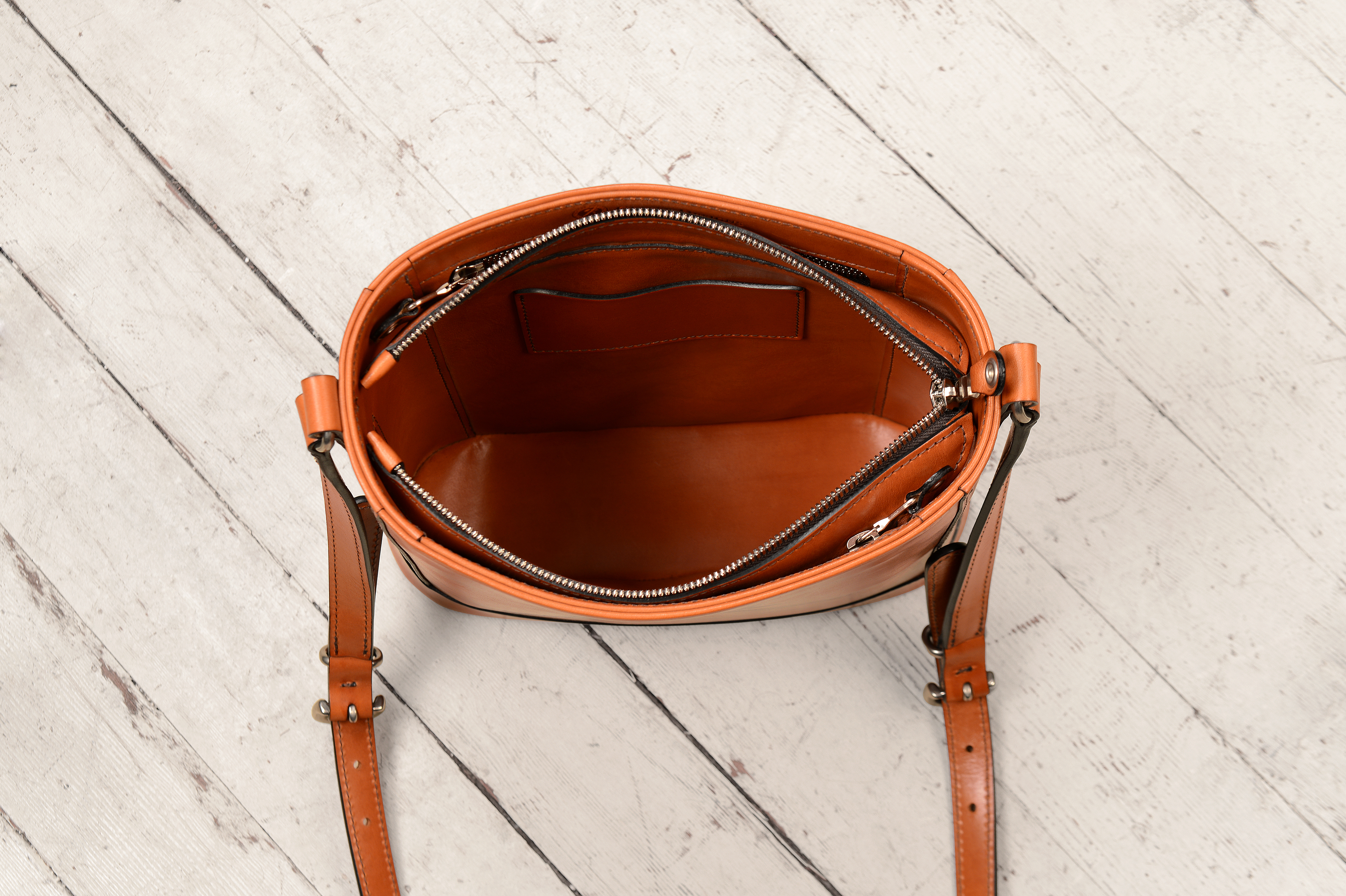Hand-burnished chestnut Shoulder Bag with long strap and silver hardware  10  x 10 x 3″  ae6c66f85ad20