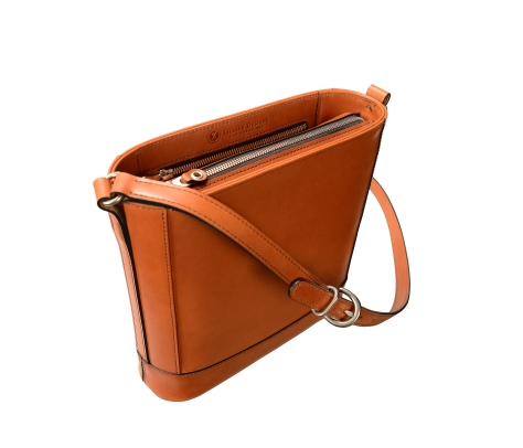 Hand-burnished chestnut Shoulder Bag with long strap and silver hardware  10  x 10 x 3″ 56f613eab4fda