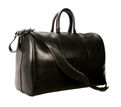 Hand-burnushed, hand-colored, black Duffel Bag; 19''