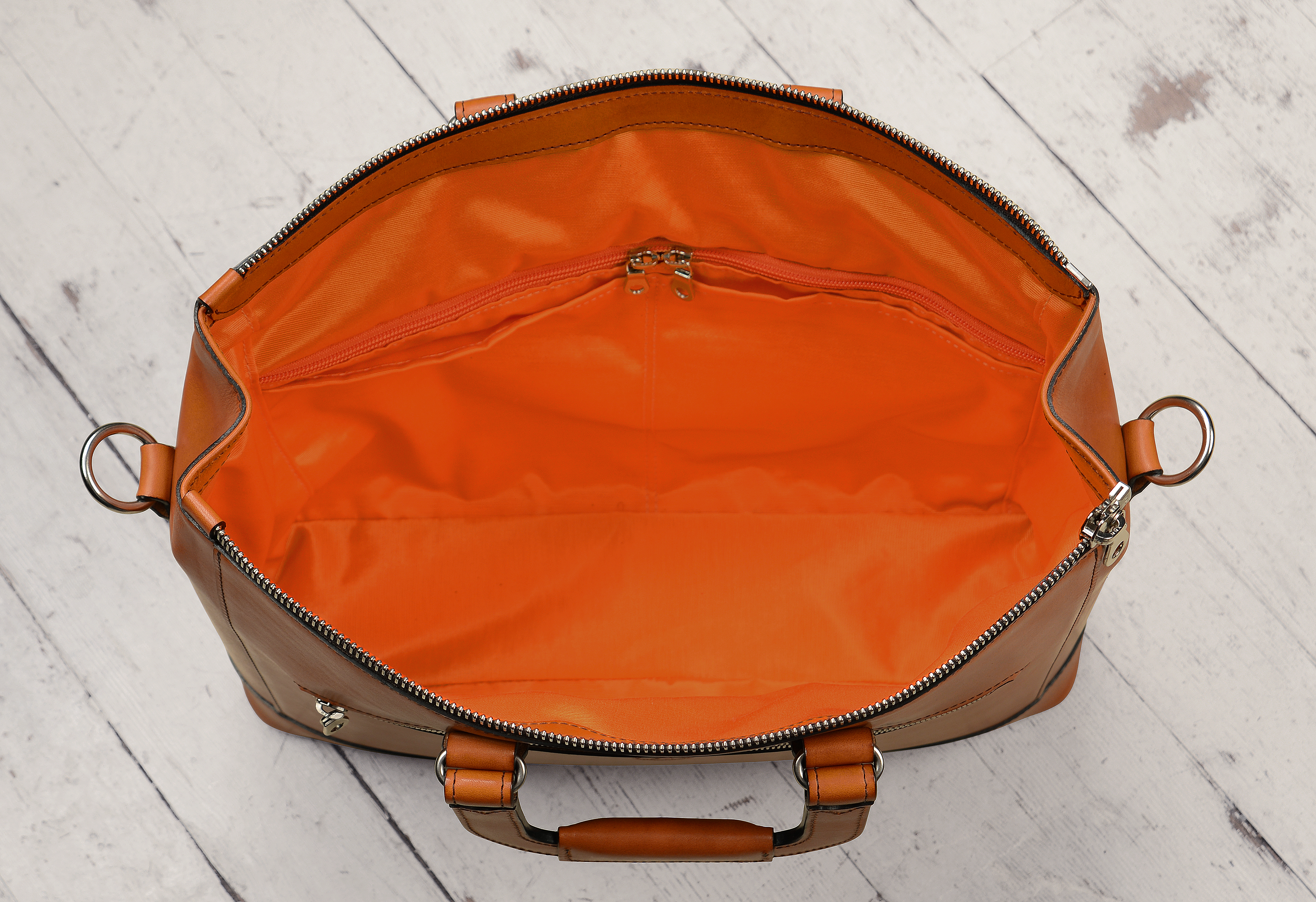 Hand-burnished chestnut Club Bag with square handles and tangerine  grosgrain lining  16 x 10 x 4″  7940fec370e54
