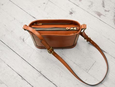 Hand-burnished chestnut Shoulder Bag with long strap and brass hardware  10  x 10 x 3″ b43d04c0daef4