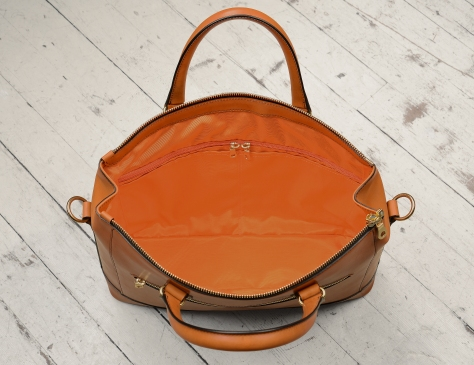 Hand-burnished,-chestnut-Club-Bag-with-tangerine-orange-lining;-16-x-10-x-4'-topdown