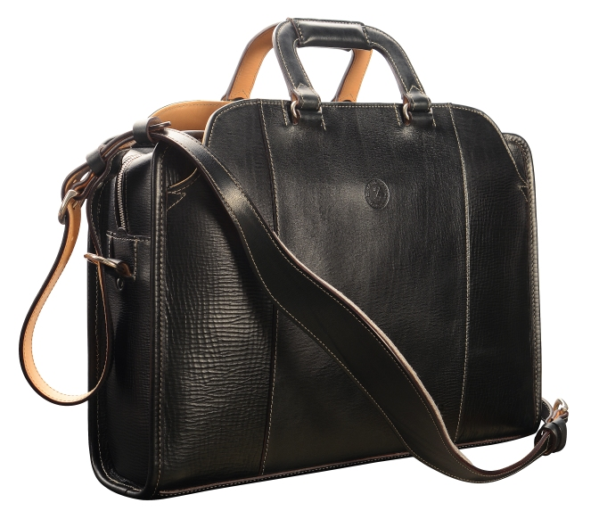 Hand-grained,-hand-colored,-olive-black-Day-Bag;-17-x-12-x-4'