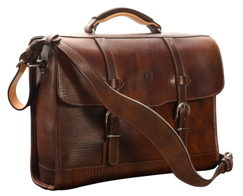 Hand-grained,-hand-colored,-sienna-Headhunter-Flaptop-Bag-with-hand-grained-natural-trim;-16-x-12-x-4'