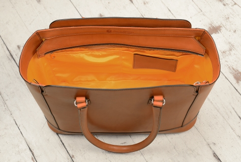 Hand-burnished,-chestnut-City-Tote-with-cadmium-yellow-grosgrain-lining;-16-x-12-x-6'-topdown3