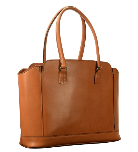 Hand-burnished,-chestnut-City-Tote-with-cadmium-yellow-grosgrain-lining;-16-x-12-x-6'