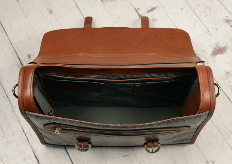 Hand-burnished,-espresso-Headhunter-Flaptop-Bag-with-black-sailcloth;-16-x-12-x-4'-topdown2