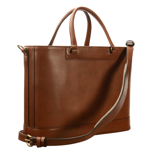 Hand-burnished,-espresso-Business-Tote-with-handles-and-strap;-17-x-13-x-5'-back