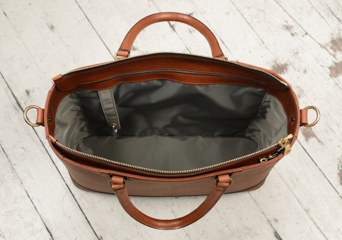 Hand-burnished,-espresso-Business-Tote-with-handles-and-strap;-17-x-13-x-5'-topdown2