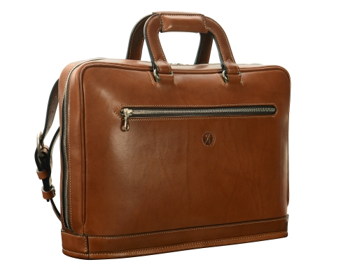 Hand-burnished-espresso-Platform-Bag;-15-x-11-x-4'