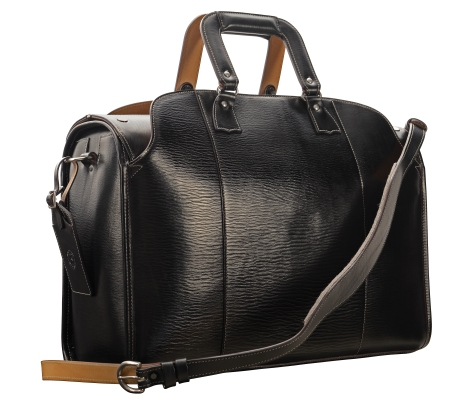 Hand-grained,-hand-colored-olive-black-Litigation-Deal-Bag-with-hand-grained-natural-trim;-19-x-13-x-8'-back
