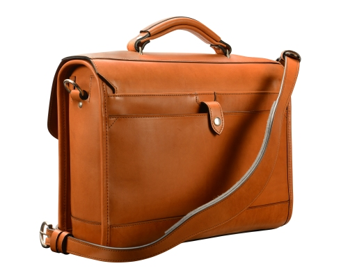 Hand-burnished,-chestnut-Headhunter-Flaptop-Bag;-15-x-11-x-4'-back