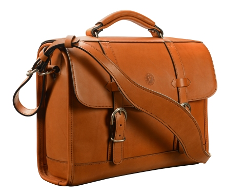 Hand-burnished,-chestnut-Headhunter-Flaptop-Bag;-15-x-11-x-4'