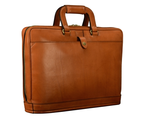 Hand-burnished,-chestnut-Platform-Portfolio-with-open-back-pocket;-16-x-11-x-4'-back