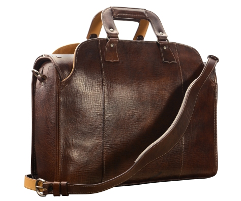 Hand-grained,-hand-colored,-espresso-Deal-Bag-with-natural-trim;-18-x-12-x-6'-back