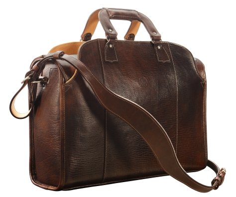 Hand-grained,-hand-colored,-espresso-Deal-Bag-with-natural-trim;-18-x-12-x-6'