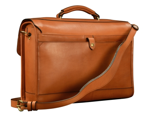Hand-burnished,-chestnut-Flapover-Bag-with-tangerine-orange-grosgrain-lining;-17-x-12-x-5'-back