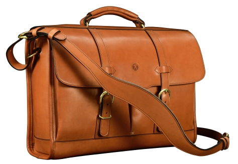 Hand-burnished,-chestnut-Flapover-Bag-with-tangerine-orange-grosgrain-lining;-17-x-12-x-5'