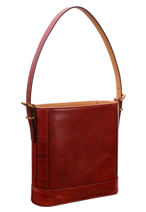 Hand-grained,-hand-colored-berbere-red-Shoulder-Bag-with-natural-trim-and-short-strap;-10-x-10-x-3'