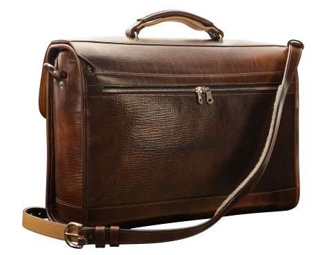 Hand-grained,-hand-colored-espresso-Headhunter-Flaptop-Bag-with-hand-grained-natural-trim;-17-x-12-x-5'-back