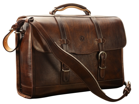 Hand-grained,-hand-colored-espresso-Headhunter-Flaptop-Bag-with-hand-grained-natural-trim;-17-x-12-x-5'