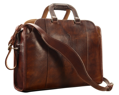 Hand-grained,-hand-colored-sienna-Day-Bag-with-hand-grained-natural-trim;-17-x-12-x-4'
