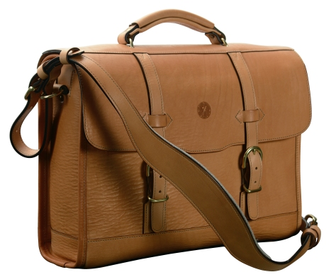 Hand-grained,-natural-Headhunter-Flaptop-Bag;-16-x-12-x-4'