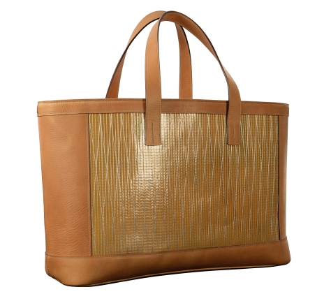 Hand-grained-natural-leather-Foldflat-Tote-with-sailcloth.1