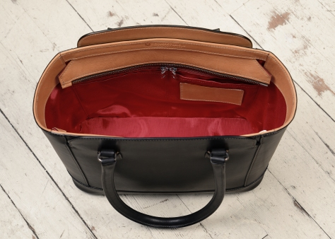 Hand-burnished-black-City-Tote-with-hand-grained-natural-trim,-natural-thread,-and-crimson-red-grosgrain-lining;-14-x-11-x-6'-topdown3