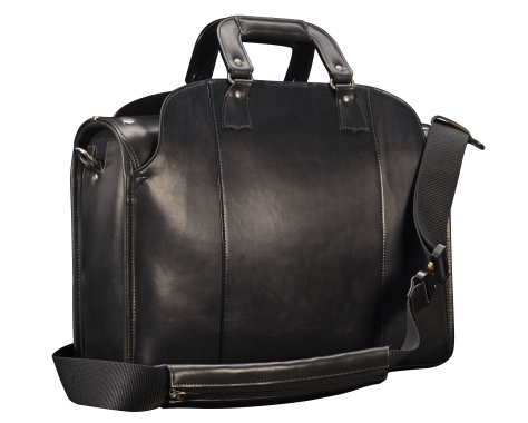 Hand-burnished-black-Deal-Bag-with-cross-body-shoulder-strap;-18-x-12-x-6'-back