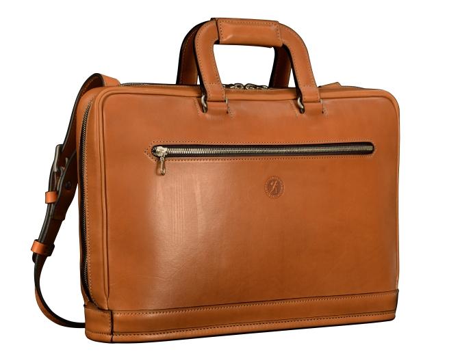 Hand-burnished-chestnut-Platform-Portfolio-Bag-with-shoulder-strap-and-dark-olive-green-lining;-15-x-11-x-4″