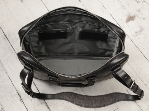 Hand-burnished,-handmade-black-Platform-Portfolio-with-cross-body-shoulder-strap;-16-x-11-x-4'-topdown2