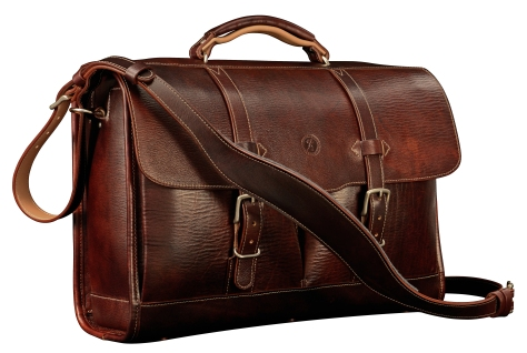 Hand-grained,-hand-colored-mahogany-Flaptop-Bag-with-hand-grained-natural-trim;-17-x-12-x-5'