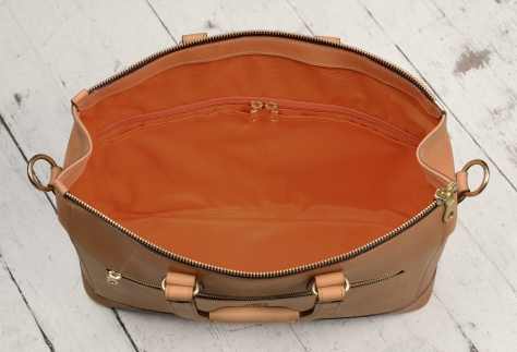 Hand-grained-natural-leather-Club-Bag-with-tangerine-grosgrain-lining;-16-x-10-x-4'-topdown2