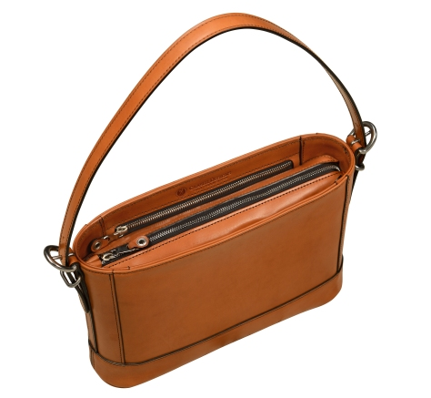 Hand-burnished-all-leather-chestnut-Hand-Bag-with-short-shoulder-strap;-12-x-8-x-3'-topdown1