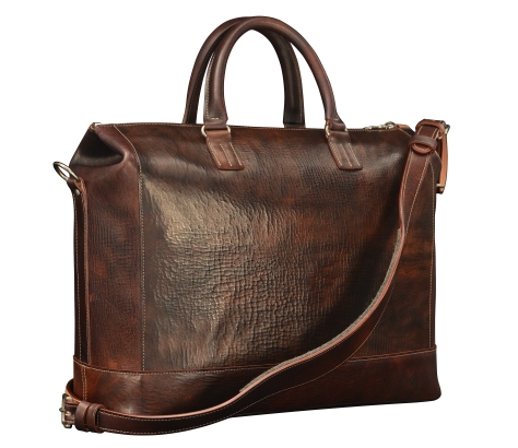 Hand-grained,-hand-colored-sienna-Club-Bag;-17-x-12-x-4'-back
