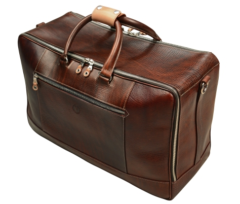 Hand-grained,-hand-colored-sienna-Square-Duffel-with-hand-grained-natural-trim;-20-x-13-x-8'-topdown1