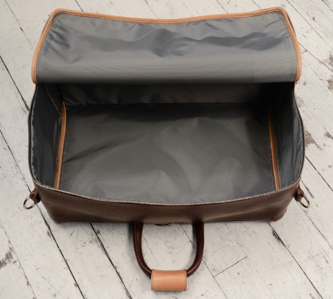 Hand-grained,-hand-colored-sienna-Square-Duffel-with-hand-grained-natural-trim;-20-x-13-x-8'-topdown2