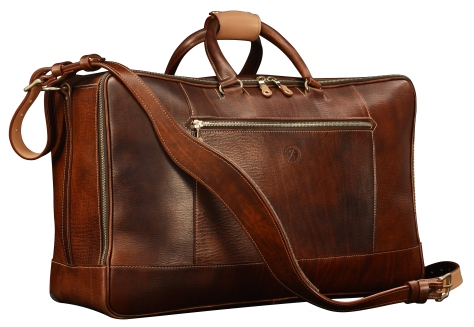 Hand-grained,-hand-colored-sienna-Square-Duffel-with-hand-grained-natural-trim;-20-x-13-x-8'