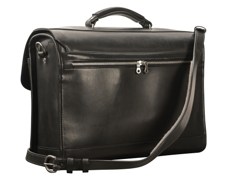 Hand-burnished,-black-Flapover-Bag;-17-x-12-x-5'-back