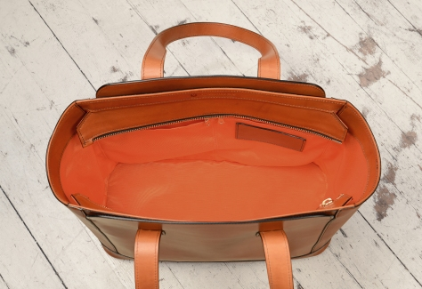 Hand-burnished-chestnut-City-Tote-with-long-flat-handles-and-tangerine-grosgrain-lining;-16-x-12-x-7'-topdown2