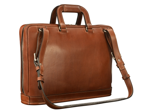 Hand-burnished-espresso-Platform-Portfolio-with-handles-and-shoulder-strap;-16-x-11-x-4'-back