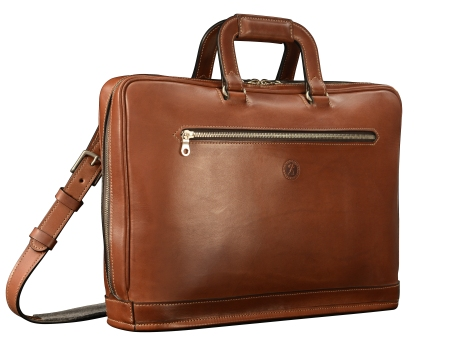 Hand-burnished-espresso-Platform-Portfolio-with-handles-and-shoulder-strap;-16-x-11-x-4'