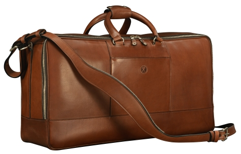 Hand-burnished-espresso-Square-Duffel-with-open-front-pocket-and-tangerine-lining;-22-x-12-x-8'