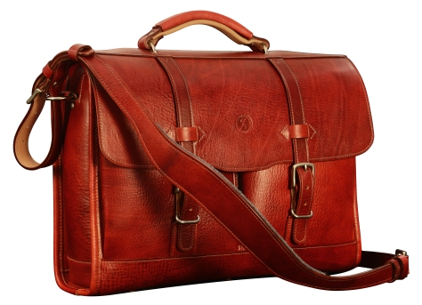 Hand-grained,-hand-colored-baran-red-Flaptop-Bag-with-hand-grained-natural-trim-and-california-blue-grosgrain-lining;-16-x-12-x-4'