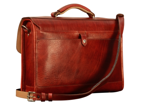 Hand-grained,-hand-colored-barn-red-Flaptop-Bag-with-hand-grained-natural-trim-and-california-blue-grosgrain-lining;-16-x-12-x-4'-back