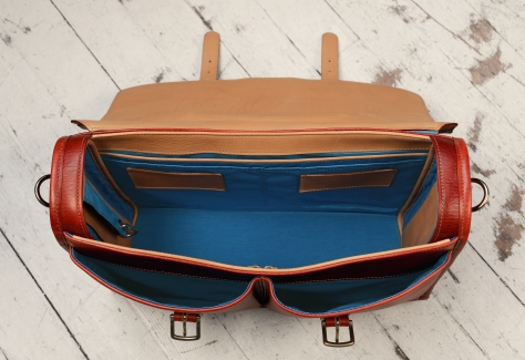 Hand-grained,-hand-colored-barn-red-Flaptop-Bag-with-hand-grained-natural-trim-and-california-blue-grosgrain-lining;-16-x-12-x-4'-topdown2