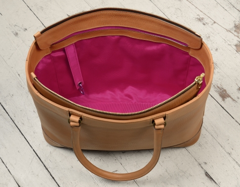 Hand-grained-natural-Business-Tote-with-long-handles-and-magenta-grosgrain-lining;-17-x-13-x-5'-topdown3