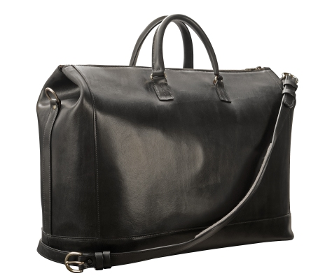 Hand-burnished,-black-Club-Bag-with-brass-hardware;-22-x-14-x-8'-back