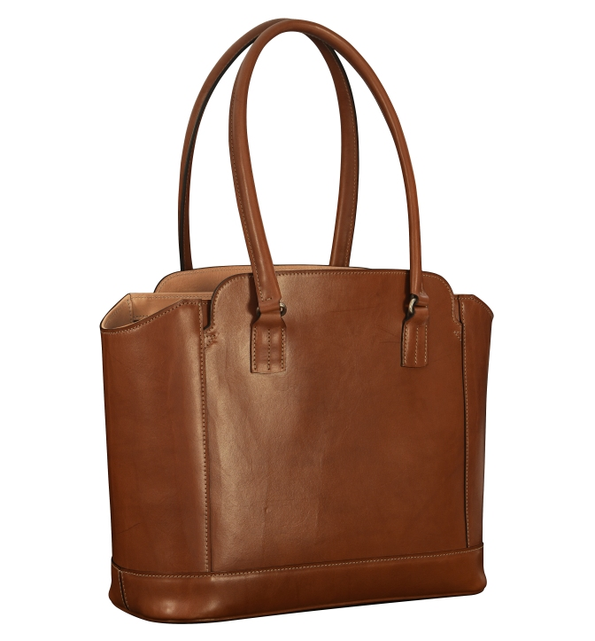 Hand-burnished-espresso-City-Tote-with-hand-grained-natural-trim-and-turquoise-grosgrain-lining;-14-x-11-x-6'